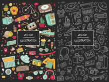 Collage Elements. Templates Elements Of Sport, Clothes, Equipment, Music And Style. Background Vector Illustration