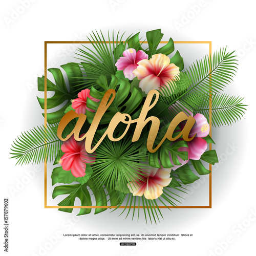 Photo Vector illustration of aloha greeting word on green palm leaves and flowers