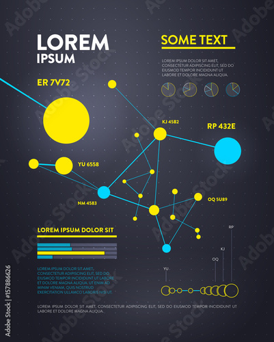 Staande foto Hoogte schaal Futuristic infographic. Information aesthetic design. Complex data threads graphic visualization. Abstract data graph.