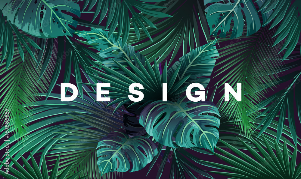 Bright tropical background with jungle plants. Exotic pattern with palm leaves.