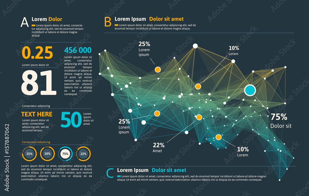 Fototapety, obrazy: Futuristic infographic. Information aesthetic design. Complex data threads graphic visualization. Abstract data graph