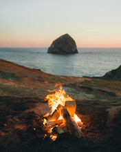 Camp Fire On The Oregon Coast