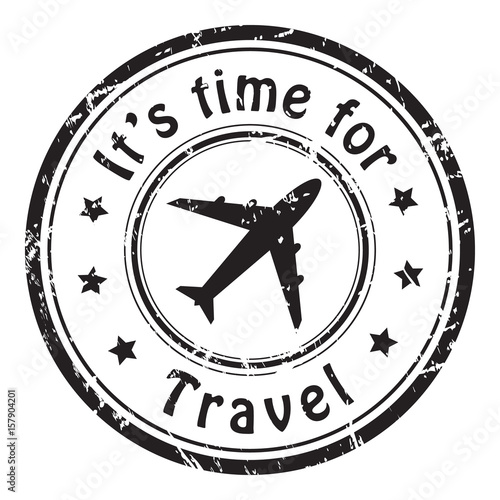 Travel Time Grunge Postal Stamp Icon Black Isolated On White Background Vector Illustration