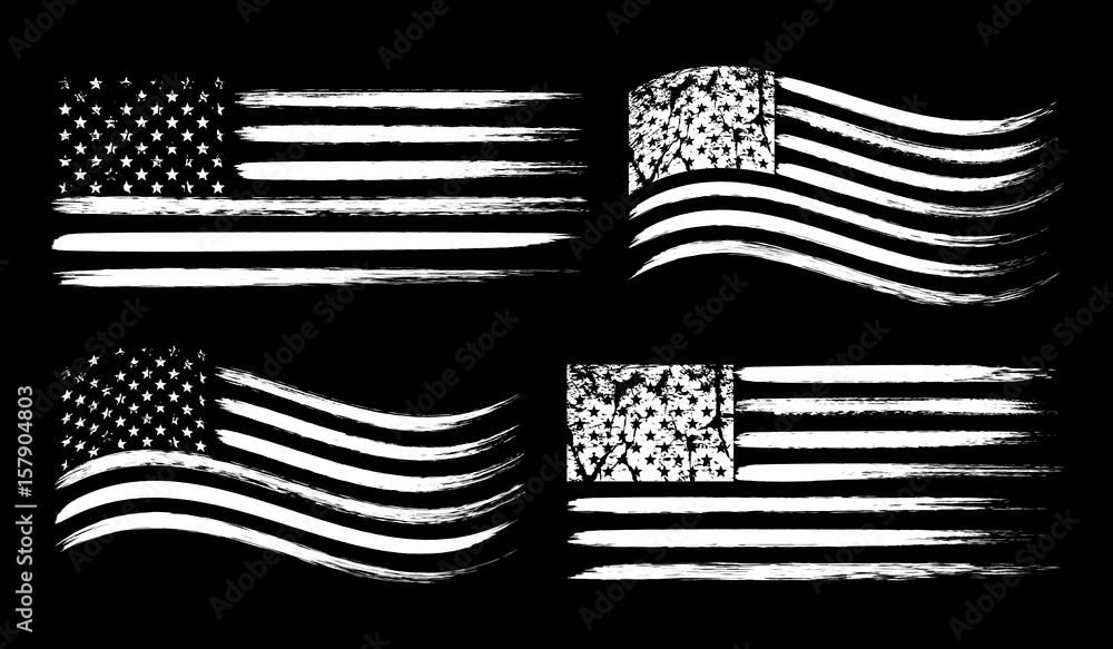 Fototapety, obrazy: USA American grunge flag set, white isolated on black background, vector illustration.