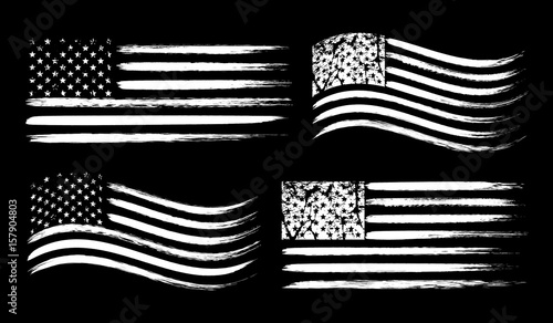 USA American grunge flag set, white isolated on black background, vector illustration.