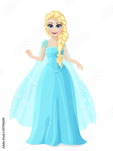 Photo  Illustration of a cute Princess in a blue dress with blond hair.