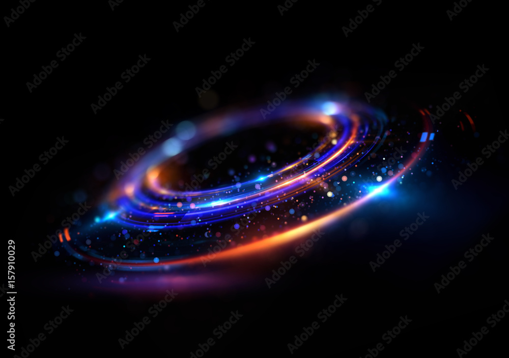 Fototapety, obrazy: Abstract background. luminous swirl. Elegant glowing circle. Bright spiral. Glow ribbon. Empty space. .Sparkling particle. Space tunnel. Glossy orbit. Colorful ellipse. Glint galaxy. Oval stage