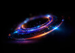 canvas print picture - Abstract background. luminous swirl. Elegant glowing circle. Bright spiral. Glow ribbon. Empty space. .Sparkling particle. Space tunnel. Glossy orbit. Colorful ellipse. Glint galaxy. Oval stage