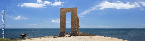 Fotobehang Tunesië panoramic view to stone arch of cape of Africa in Tunisia