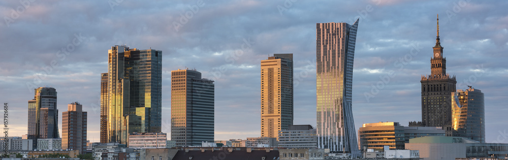 Fototapety, obrazy: Sunset over Warsaw city panorama