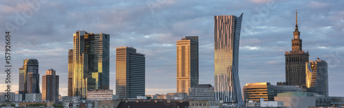Sunset over Warsaw city panorama