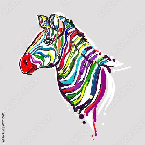 wielokolorowy-rysunek-zebry-na-szarym-tle-glowa-zebry