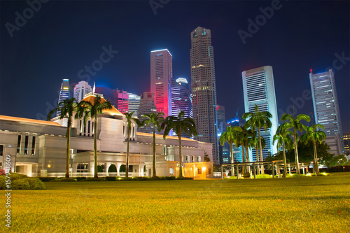 Singapore Parliament building at night Poster