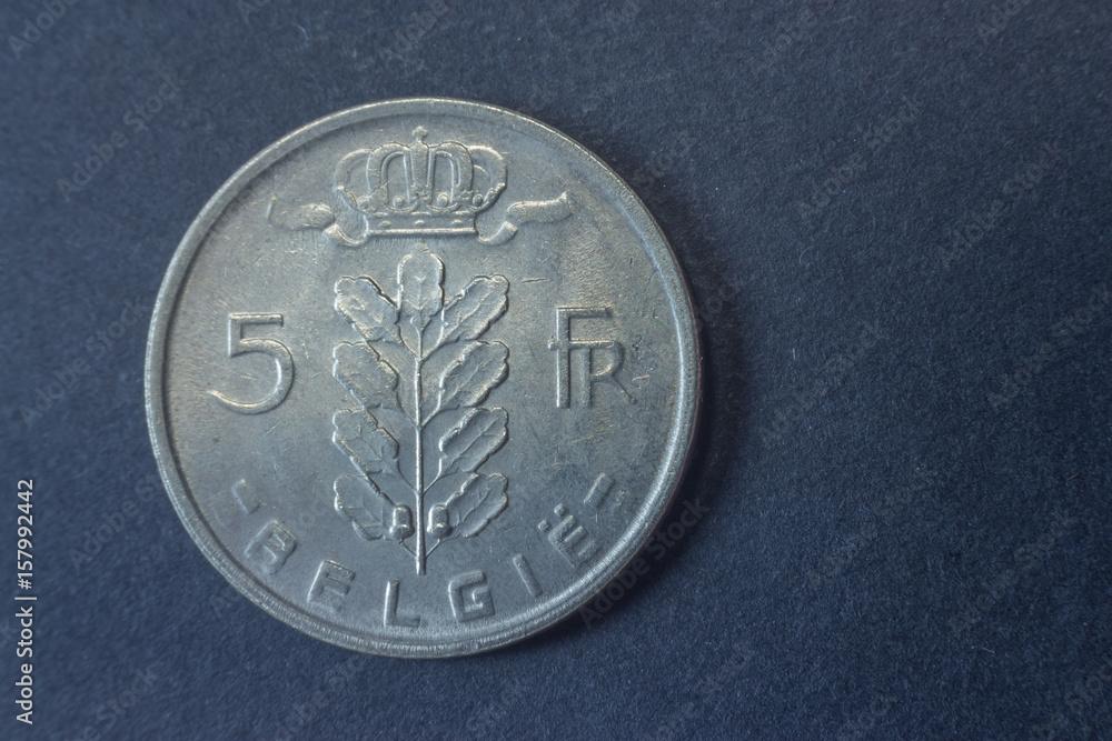 Photo & Art Print Five belgium francs 1965 tail coin, vintage old