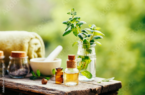 Spa still life with essential oil Wallpaper Mural