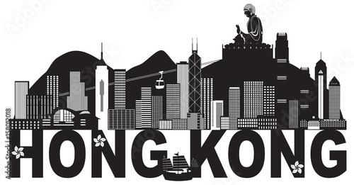 Plakat Hong Kong linii horyzontu Buddha statuy teksta Czarny I Biały wektorowa ilustracja