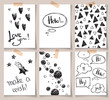 Set of abstract creative cards with hand drawn sketches. Hipster