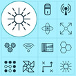 Robotics Icons Set. Collection Of Computing Problems, Mechanism Parts, Radio Waves And Other Elements. Also Includes Symbols Such As Wi-Fi, Communication, Cpu.