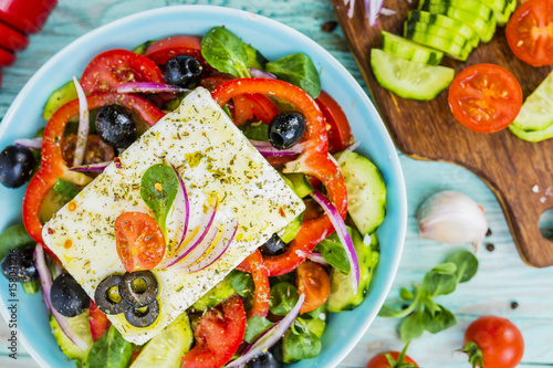 Fotografie, Obraz  Choriatiki - Greek salad with feta cheese. Mediterranean food.