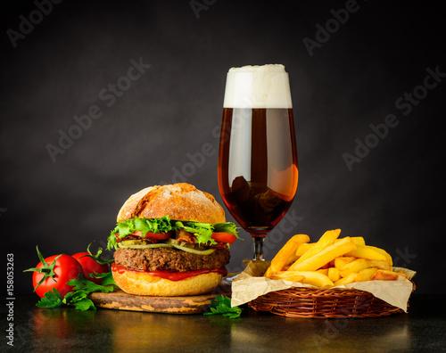 Fotografie, Obraz  Beef Burger Sandwich with Beer