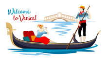 A Colorful Cartoon Drawing, Where A Young Gondolier In A Vest And Hat Drives A Tourist On A Gondola, Sitting On A Boat And Photographing The Rialto Bridge On A Channel In The Town Of Venice.