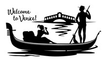 A Silhouette Black Cartoon Drawing, Where A Young Gondolier In A Vest And Hat Drives A Tourist On A Gondola, Sitting On A Boat And Photographing The Rialto Bridge On A Canal In The Town Of Venice.