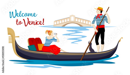 Fényképezés A colorful cartoon drawing, where a young gondolier in a vest and hat drives a tourist on a gondola, sitting on a boat and photographing the Rialto Bridge on a channel in the town of Venice
