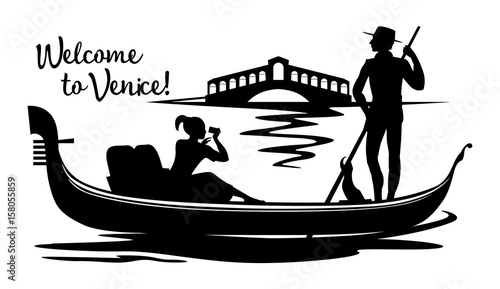 Fotografie, Tablou A silhouette black cartoon drawing, where a young gondolier in a vest and hat drives a tourist on a gondola, sitting on a boat and photographing the Rialto Bridge on a canal in the town of Venice