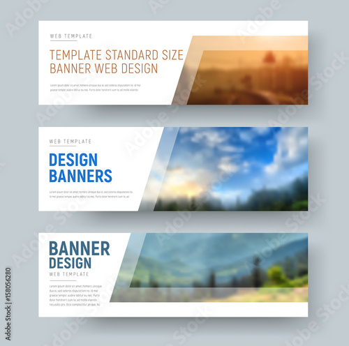 Design of standard white horizontal web banners with space for images and text. Wall mural