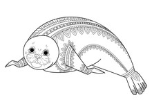Cute Seal Zentangle Vector. Ph...