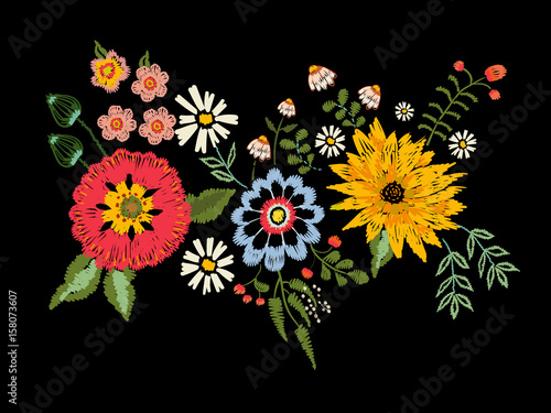 Photo  Embroidery native pattern with fantasy flowers