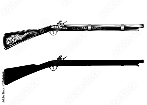 Photo old flintlock rifle