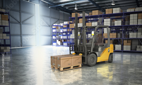 Plakat Pojęcie magazyn Forklift w dużej magazynowej doręczeniowej tła 3d ilustraci