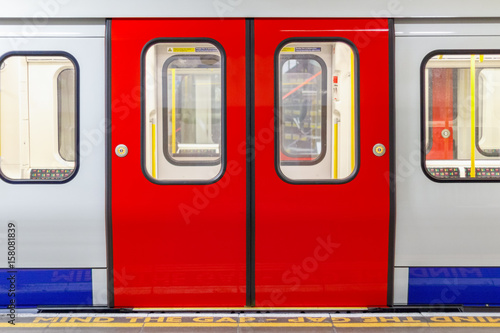 London underground train carriage waiting to depart at platform