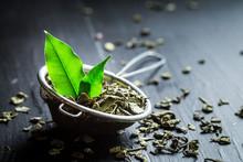 Tasty Green Tea In Old Metal S...