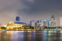 Esplanade Theaters On The Bay In Singapore At Night