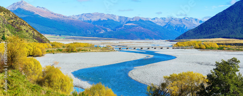 Fotobehang Nieuw Zeeland Panoramic image of beautiful scenery of Arthur's pass National Park in Autumn , South Island of New Zealand