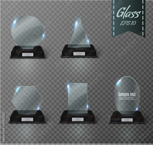 Blank glass trophy award on a transparent background  - Buy