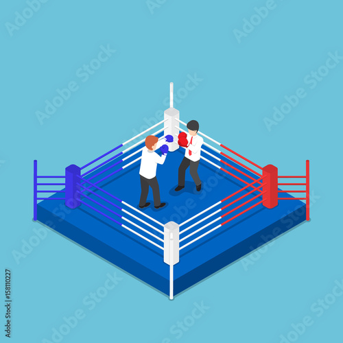 Isometric businessmen fighting on boxing ring buy this stock isometric businessmen fighting on boxing ring ccuart Images