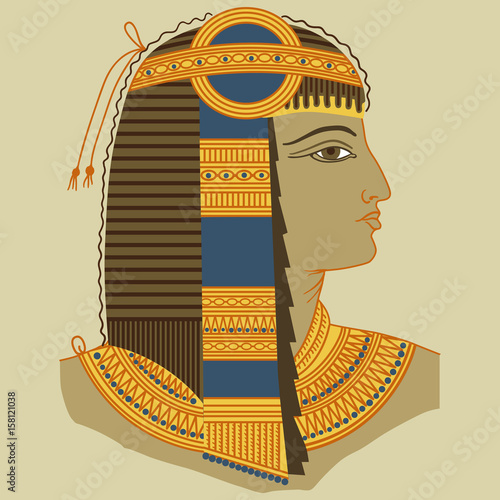 Profile of a man in the style of ancient Egypt Wallpaper Mural