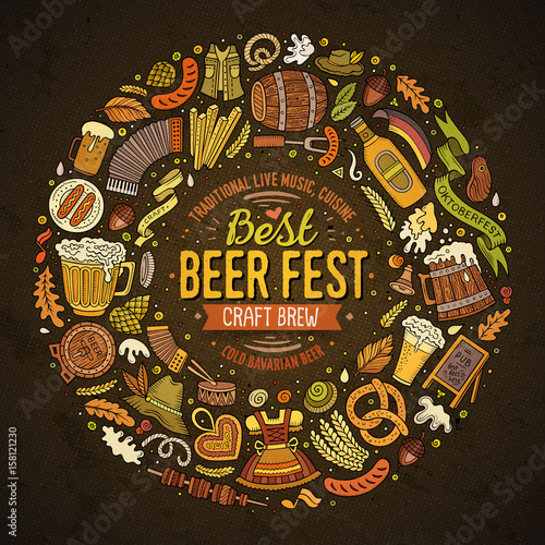 Poster Imagination Set of Beer fest cartoon doodle objects round frame