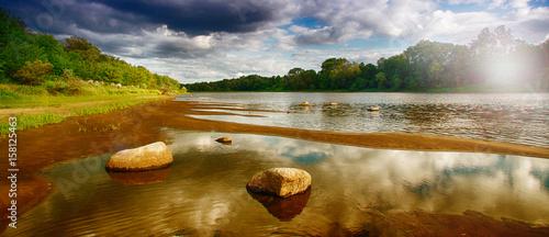 Montage in der Fensternische Fluss Landscape from the river 2