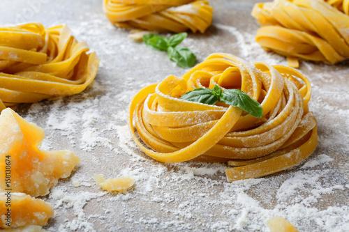 Homemade tagliatelle pasta nest Obraz na płótnie