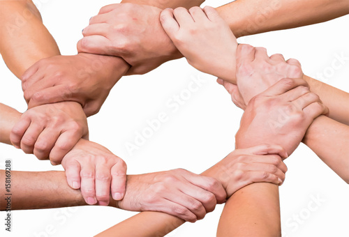 Fototapety, obrazy: Hands were a collaboration concept of teamwork isolated on white