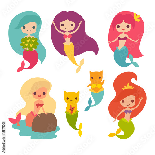 Photographie  Mermaid girls vector illustration