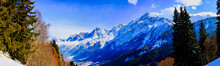 Panorama Of Chamonix Valley In Winter From Prarion, Les Houches, France.  Hdr Tone Mapping Effect.