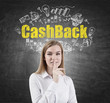 Blond woman making a hush sign, cashback
