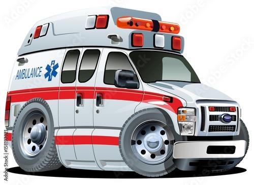 Photo Vector Cartoon Ambulance Car