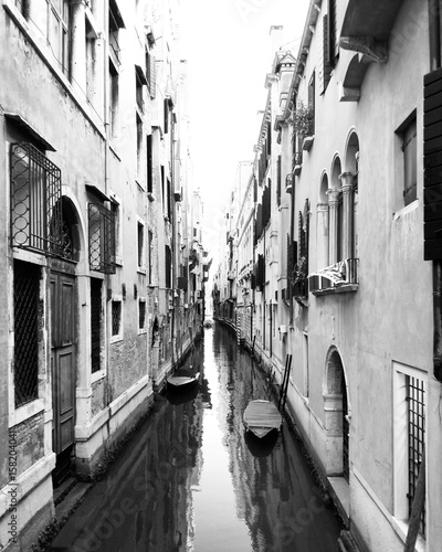 Black and white canal view in Venice