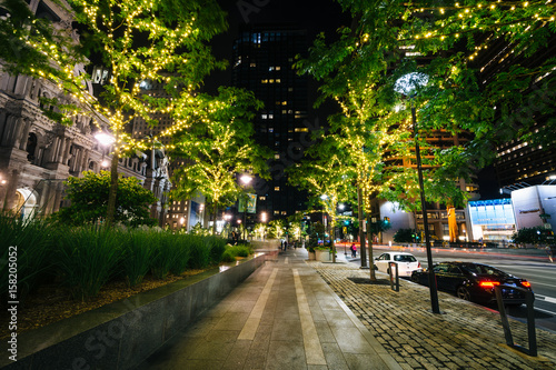 Trees with lights and a walkway at night, at Dilworth Park in the Center City of Philadelphia, Pennsylvania.